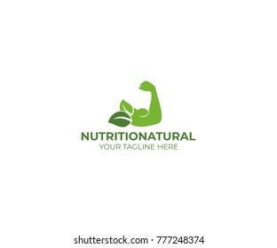 Natural Nutrition Logo Template. Muscles Vector Design. Gym Illustration