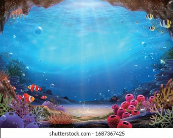 Natural ocean bottom background with colorful coral reef and abundant marine life, 3d illustration