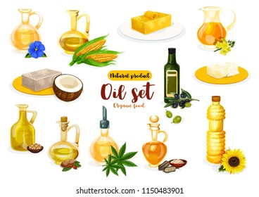 Natural oil and butter poster with vegetarian and dairy product. Bottle of oil, bricks of butter and margarine with olive, coconut and corn, sunflower, peanut and flax, sesame, colza, soy and hemp