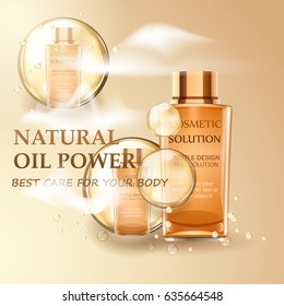 Natural oil power. Vector realistic concept with drops, smoke and cosmetic bottles.