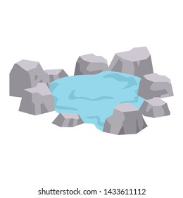The natural onsen bath in the outdoor. the natural onsen bath on the white background. the onsen bath of cute cat in flat vector.