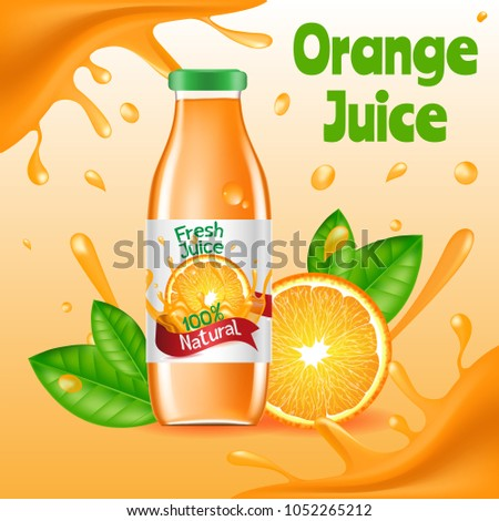 Natural Orange Juice Ads Poster Glass Vector de stock ...