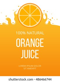 Natural orange juice label template. Organic fresh fruit, vector illustration