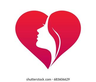 Natural Organic Beauty Female Face Logo - Beautiful Female Silhouette In A Love Symbol