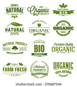 Natural, Organic, Bio, Farm Fresh Design Collection - A set of twelve green colored vintage style Designs on light background