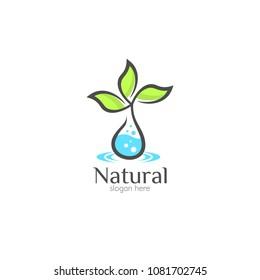 Natural organic care logo design icon template. Eco bio green vector illustration