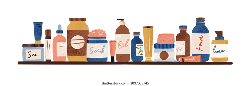 Natural organic cosmetic standing on shelf. Bottles, jars, tubes of lotion, cream, oil, scrub, serum, gel in eco friendly packaging. Flat vector cartoon illustration isolated on white background