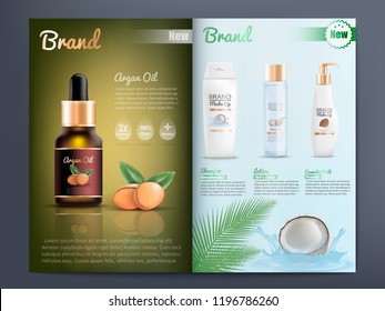 Natural Organic Cosmetics Products for Skin Care Promotion Catalog Realistic Vector Template with Branded Argan Oil, Shampoo, Lotion and Cosmetic Milk. Beauty Magazine, Advertising Booklet or Brochure