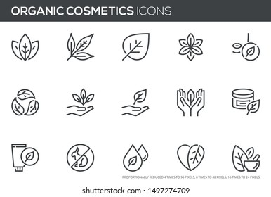 Natural and organic cosmetics vector line icons set. Skincare, no synthetic fragrance and colors, no animal testing. Editable stroke. Perfect pixel icons, such can be scaled to 24, 48, 96 pixels. - Shutterstock ID 1497274709