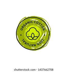 Natural Organic Cotton Liner labels and badges and hand draw pencil texture - Vector Round Icon ,Sticker, Logo, Stamp, Tag Cotton Flower - Natural Cloth green Logo Plants Stamp Organic Textiles.
