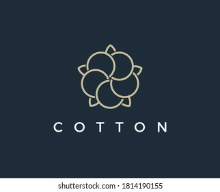 Natural Organic Cotton Liner labels and badges - Vector Round Icon, Sticker, Logo, Stamp, Tag Cotton Flower Isolated on White Background - Natural Cloth Logo Plants Stamp Organic Textiles.