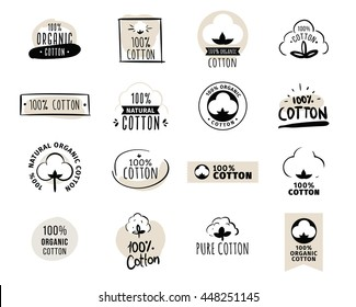 Natural organic cotton, pure cotton vector labels set. Hand drawn, typographic style icons or badges, stickers, signs. Isolated on white background.