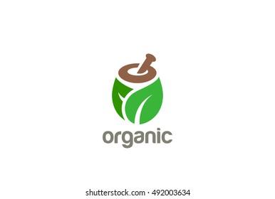 Natural Organic Eco Bio Green Logo design vector template. Cosmetics, Medicine, Pharmacy, SPA logotype mortar pestle concept icon.