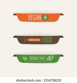 natural and organic label green color and vegan fresh food banner. agriculture mark logo badges design.