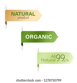 natural and organic label green. modern banner and badges design.