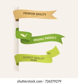 natural organic label ribbon. vintage badges design.