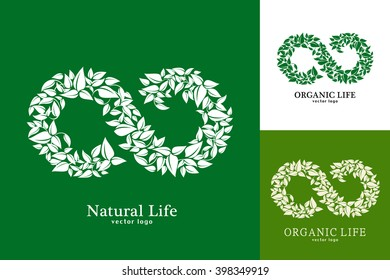 Natural and organic life. Vector eco emblem logo design template. Green concept of natural products. Infinity of leaves