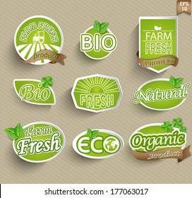 Natural organic product labels, emblems and badges. Set of design elements.