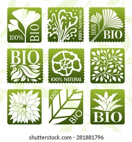 Natural organic product labels, stickers and badges.