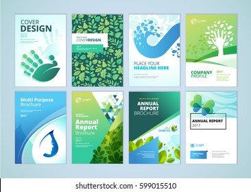 Natural and organic products brochure cover design and flyer layout templates collection. Vector illustrations for marketing material, ads and magazine, product presentation templates.