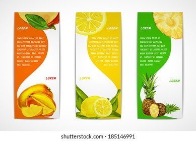 Natural organic tropical fruits vertical banners set of mango lemon pineapple design template vector illustration