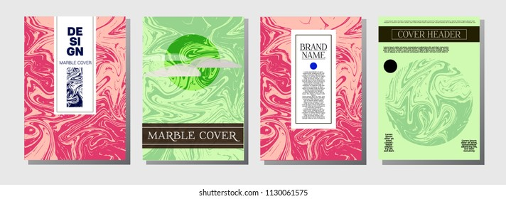 Natural, Organic Waves Vector Marbling Covers. Cool A4 Green, Purple Journal Background. Marble Stone Texture, Funky Presentation. Ebru, Suminagashi, Liquid Paint, Paper, Card, Marble Covers