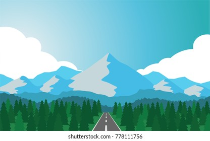 Natural panorama view of the mountain range with some snow on the top hat of mountain with the country road lead to the mountain and pine tree forest on the both side of the road