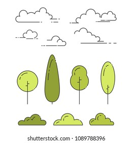 Natural park elements set of trees, shrubs and clouds in line art with editable stroke isolated on white background. Outline abstract plants and sky symbols in vector illustration.