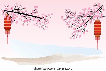 Natural peach blossoms, Chinese style with vector