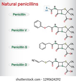 Natural penicillins antibiotic drug molecule. Benzylpenicillin , phenoxymethylpenicillin, almecillin. Structural chemical formula. Vector illustration
