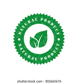 Natural product grunge retro green isolated stamp