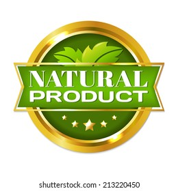 Natural Product Label, With Gradient Mesh, Vector Illustration