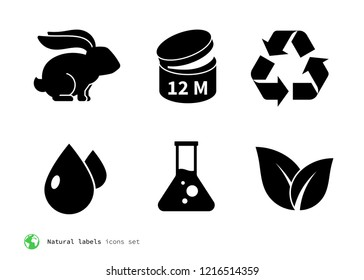 Natural product label icons set