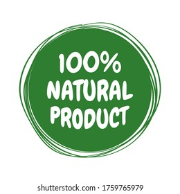 Natural Product Label. Made with a sticker label made from eco-friendly green natural ingredients. Vector illustration