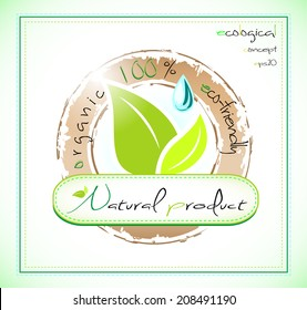 Natural product label, organic 100% eco-friendly, EPS 10