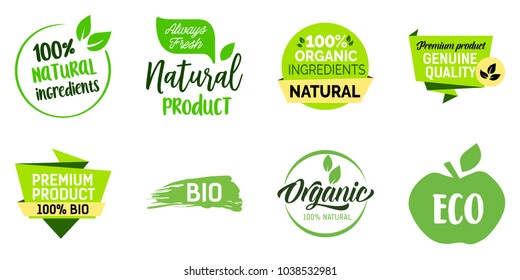 Natural product lettering set. Healthy nutrition, balanced diet, organic food. Calligraphy, handwritten text can be used for leaflets, posters, banners, labels.