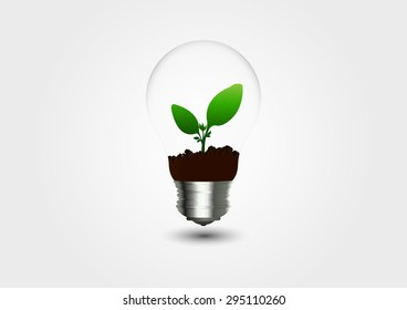 Natural product logo design vector template,green eco energy concept,Icon Plant with leaves growing in a bulb. Recycling waste