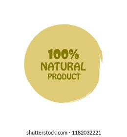 Natural products icon, package label vector graphic design. Natural origination and ingredients products label, sign, vector natural sign. Acrylic grunge tag natural product label.
