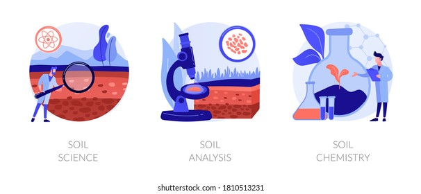 Natural resource study abstract concept vector illustration set. Soil science, analysis and chemistry, land management, soil test, laboratory service, pollution level, agriculture abstract metaphor.