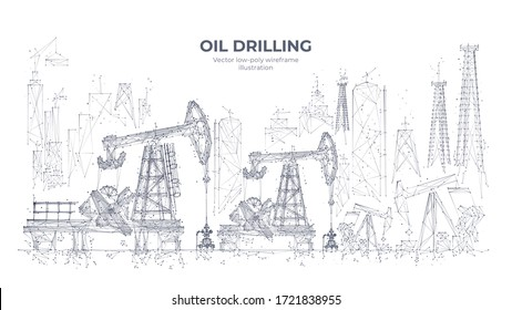 Natural resources mining equipment isolated in white background. Abstract polygonal panorama. 3d oil drilling rigs and pumpjacks. Vector sketch drawing. Oil industry concept