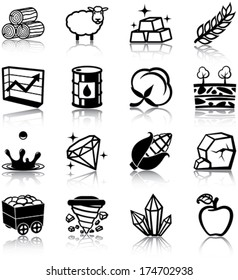 Natural resources related icons/ silhouettes