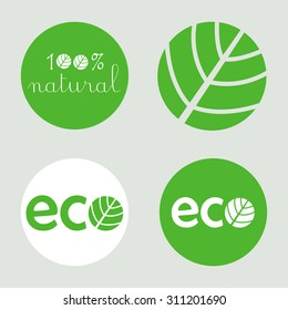 Natural round label vignette and green icon set of designed Eco lettering and and 100% natural lettering
