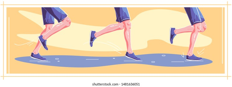 Natural running in wet weather. Right stages of running. Running technique. Healthy steps of run, lifestyle concept. Autumn sport. Vector flat graphic design illustration set