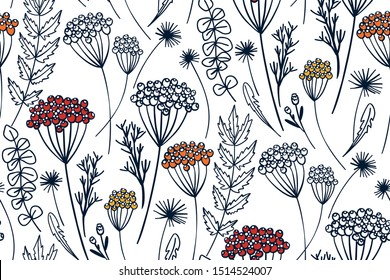 Natural rustic background with flowers and herbs hand drawn. Floral seamless pattern for textile, wrapping, wedding cards.