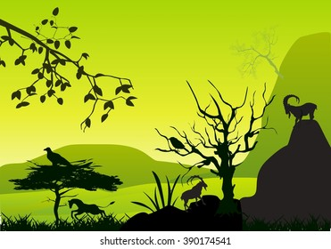 Natural scene vector scene. Mountains, highlands, trees, goat, birds silhouettes, tree and rocks black silhouettes.