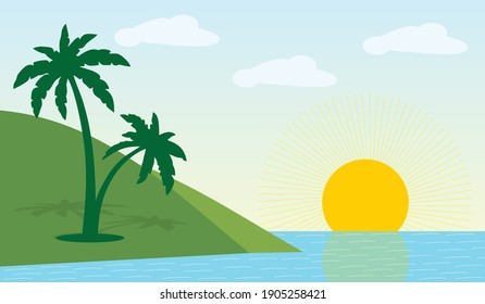 Natural Scenery Landscape of Sea with coconut tree on vector illustration.