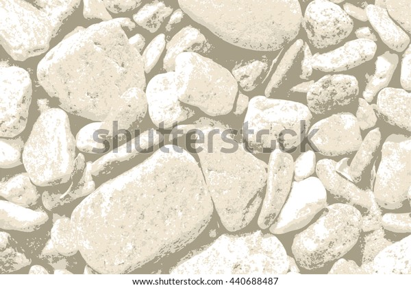 Natural sea or ocean coast beach pebbles grunge background  texture pattern,  for vintage design. Round mountain or valley stone backdrop
