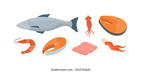 Natural seafood vector illustrations set. Whole fish, squid and shrimp. Delicious fish market products, marine cuisine restaurant menu design elements. Crab legs, fish slices and salmon fillet.
