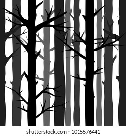 Natural seamless background with silhouettes of trees, vector illustration
