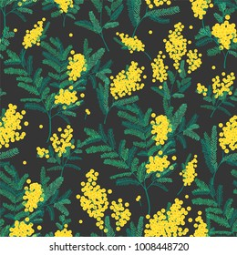 Natural seamless pattern with gorgeous blooming mimosa flowers on black background. Backdrop with spring flowering plants. Vector illustration in vintage style for textile print, wrapping paper